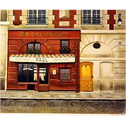 Renoux Hand Signed Limited Edition Lithograph   Restaurant Paul
