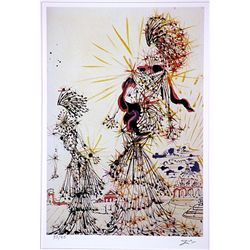 Salvador Dali Signed Limited Edition - Two Woman with a town in the Background