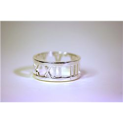 Unisex Fancy Tiffany Silver Band Ring