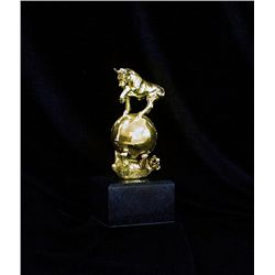 24K Gold Layered Limited Edition  Bear and the Bull Sculpture by Delair
