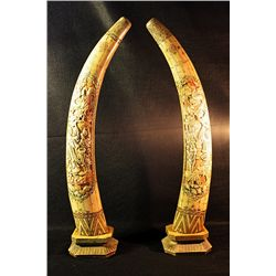 Hand Carved Horns-Pair