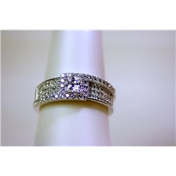 Lady's Antique Style Promise Sterling Silver White Sapphire Ring