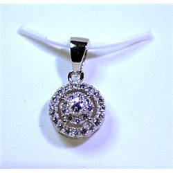 Lady's Antique Style Sterling Silver Black & White Diamond Pendant