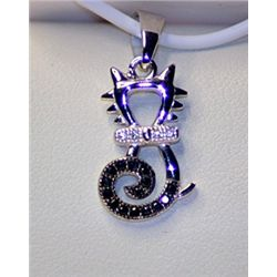 Lady's Stylish Sterling Silver  CAT  Black & White Diamond Pendant