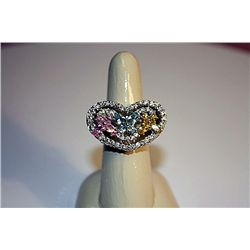 Very Stylish Silver Heart Shaped Tri-color Stone Ring