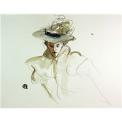 Original Watercolor on paper  Signed Toulouse Lautrec
