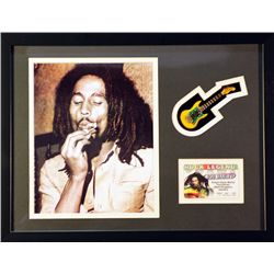 Bob Marley   Giclee, mini guitar & Rock Legend I.D. card