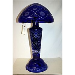 Cobalt Diamond Cut Crystal Mushroom Lamp