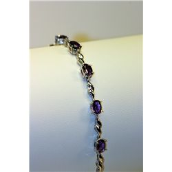Lady's Beautiful Silver Amethyst Bracelet