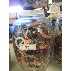 Large Jar of Misc. Costume Jewelry 20 Lbs