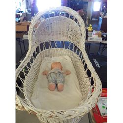 Wicker Bassinet With Cabbage Patch Doll