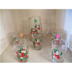 Vintage Hand Pained Pitcher & Glasses