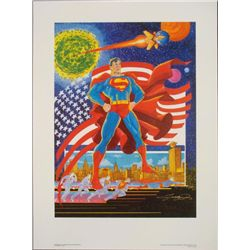 Superman Signed George Perez Print Defender of Mankind