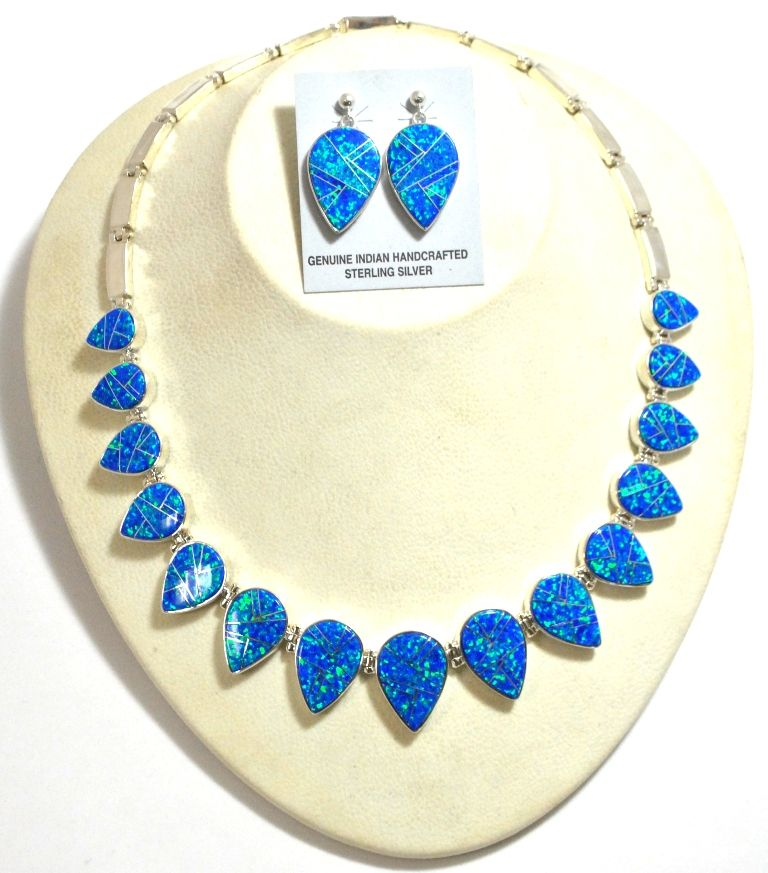 Navajo Ocean Blue Opal Inlay Sterling Silver Link Necklace Post Earrings Set Calvin Be Loading Zoom