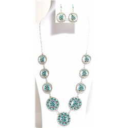 Zuni Turquoise Needlepoint Leaf Sterling Silver Necklace & Earrings Set - Frances Eustace