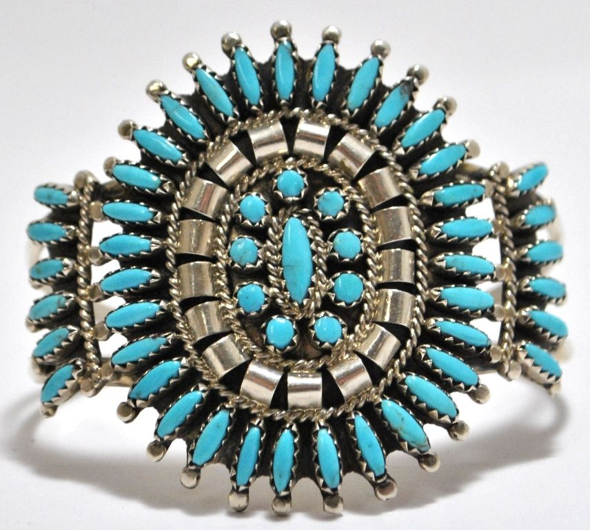Old Pawn Zuni Turquoise Needlepoint Sterling Silver Cuff Bracelet