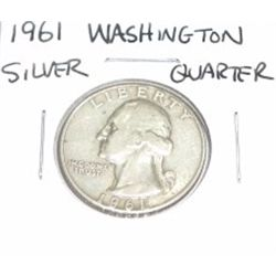 1961 Washinton SILVER Quarter *PLEASE LOOK AT PICTURE TO DETERMINE GRADE - NICE COIN*!!