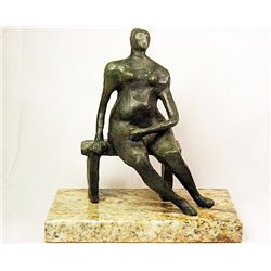 Henry Moore  Original, limited Edition  Bronze- Woman on Bench -