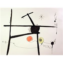 Original Hand Draw, Ink and Pastel on paper  Signed  Miro