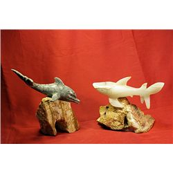 Original Hand Carved Marble  Shark & Dolphin  by G. Huerta