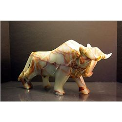 Original Hand Carved Marble  Bull  by G. Huerta