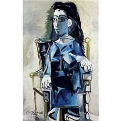 Limited Edition Picasso - Jacqueline Seated with Her Black Cat - Collection Domaine Picasso