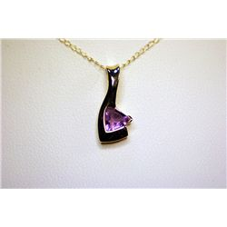 Lady's Beautiful 10 Kt Yellow Gold Amethyst Pendant