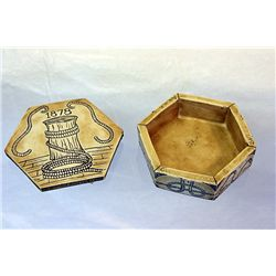 1878 Hexagon shaped box made of 2nd Generation Whale tooth with Orante Hand carvings