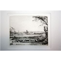 Rembrandt Etching - Canal with Large Boat and Bridge - Printed by A. Durand