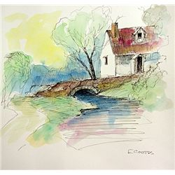 Original Watercolor on paper  Signed  Eduardo Cortez