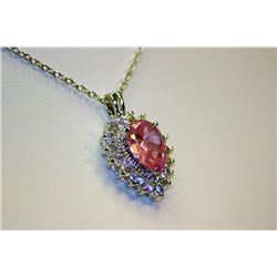 Lady's Fancy Almandine Garnet With White Sapphire Pendant
