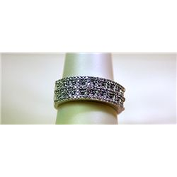 Unisex Fancy Sterling Silver White Sapphire Band Ring