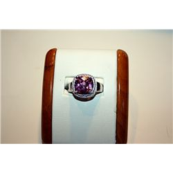 Lady's Fancy 14 kt White Gold  Pink Sapphire Ring