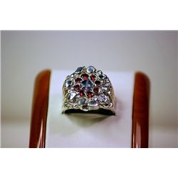 Stylish 14 kt White Gold Alexandrite & Pigeon Blood Ruby Ring