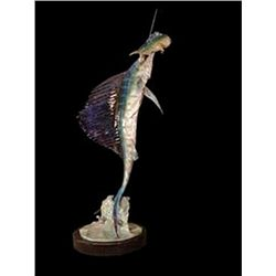 Bronze Sculpture - Sailfish with Maihi by J. Townsend