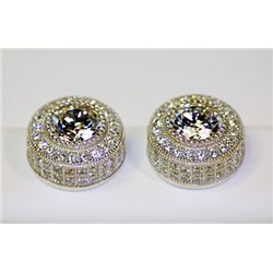 Lady's Antique Style Sterling Silver Round Shape White Cubic Zirconia Earrings