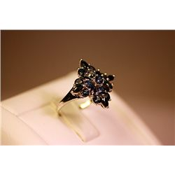 Lady's  Fancy 14 kt White Gold Sapphire Ring