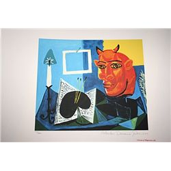 Limited Edition Picasso - Still Life With Candle, Pallette and Red Head of Minotaur - Collection Dom