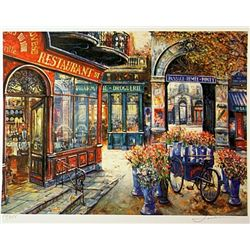 Jacobson Limited Edition Lithograph  Flower Stall