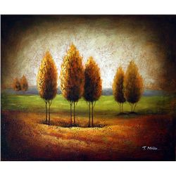 Original Oil on Canvas. Autumn by T. Mike