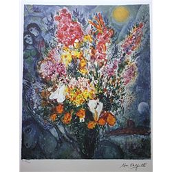Original Lithograph by Marc Chagall BLUE BOUQUET