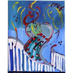 Peter Max Original Acrylic On Canvas - The Dancer