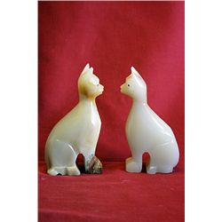 Original Hand Carved Marble  Cats  by G. Huerta