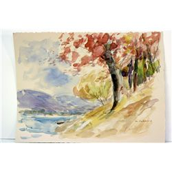 After Maurice Braun  Original Watercolor on Paper - Autumn Color