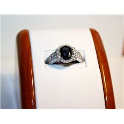 Ladies 14k White Gold Diamond/Sapphire Ring