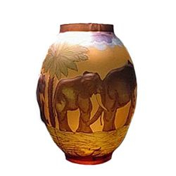 Galle Signed Elephant Design Egg Shaped Vase