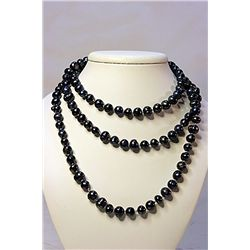 Lady's Beautiful Real Broka Black Pearl Necklace