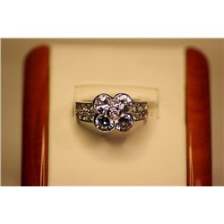 Lady's Beautiful One of a kind design, 14kt White Gold White Sapphire Ring