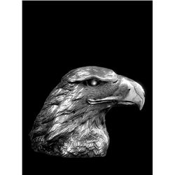 Original Fine Silver Sculpture - Eaglehead by H. Scott