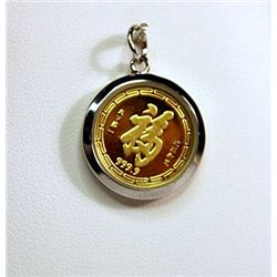 999 Gold Chinese Zodiac Pendants (ROOSTER)